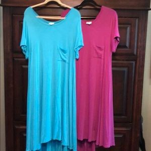 2 Lularoe Carly dresses. XL.  Hard to find colors!